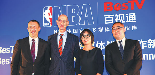 From Left Nba China Ceo David Shoemaker Nba Commissioner