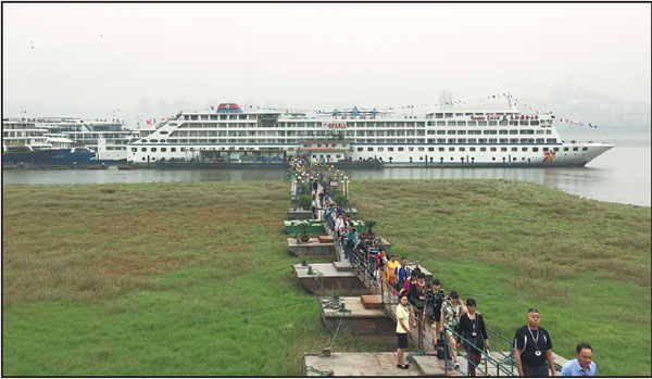 Visitors Disembark From The Yangtze Gold Cruise No 6 For A