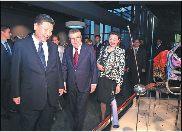 President Xi Jinping And Ioc President Thomas Bach Look At