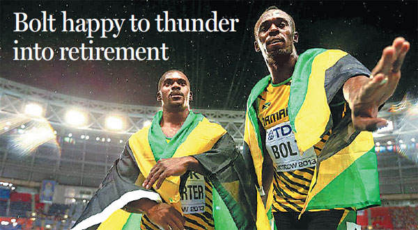 usain bolt right and teammate nesta carter pose after. Black Bedroom Furniture Sets. Home Design Ideas