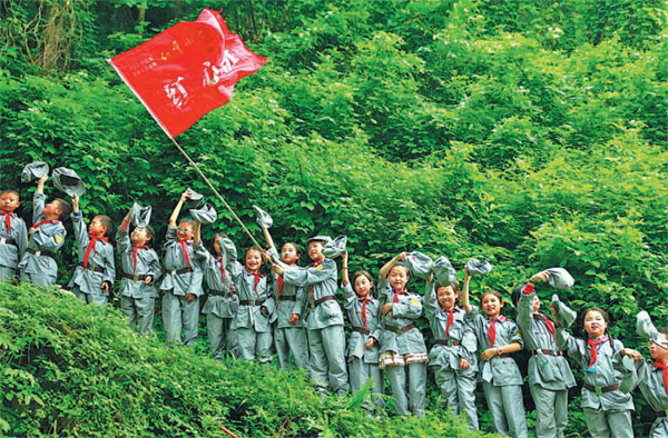 Kids Use Of Technology Soars >> wearing red army uniforms students from a primary school in huaying city sichuan province ...