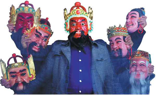 a multiple exposure of peng guolong with masks he has made ...