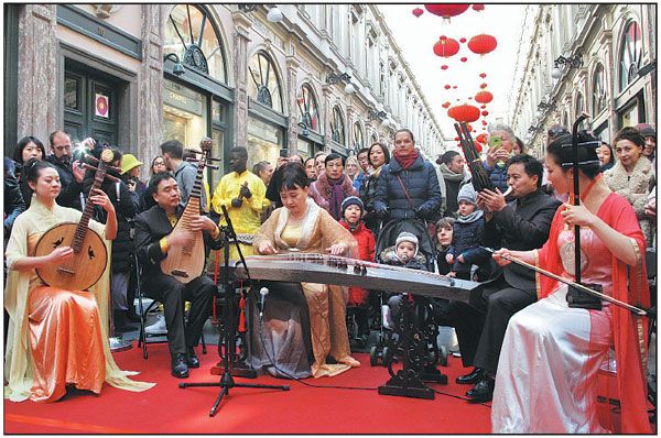 Chinese And Belgian Artists Perform At The Lantern Hanging