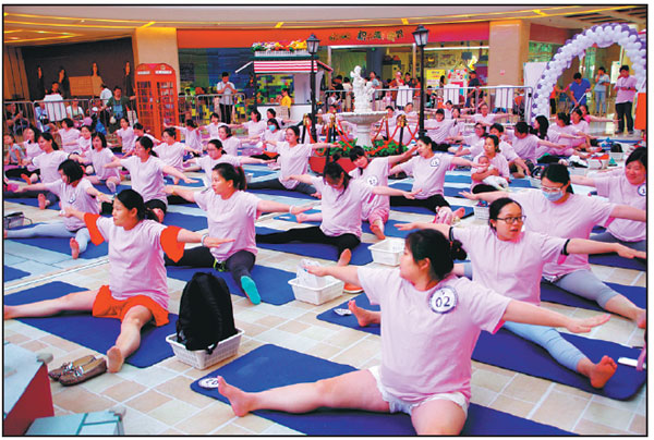 pregnant women practice yoga at a square in wuhan hubei ...