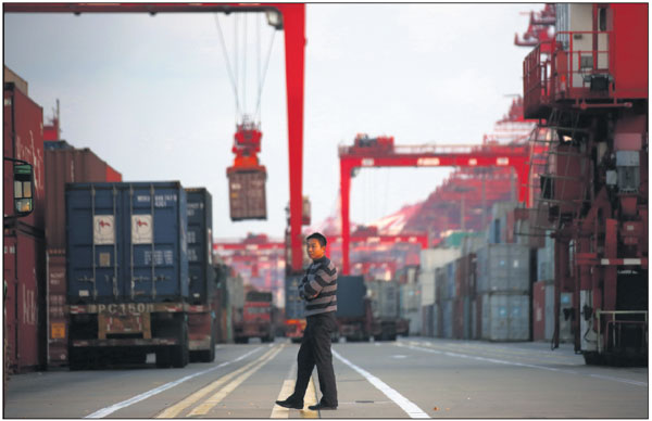 A Truck Driver Walks In The Yangshan Deep Water Port Part