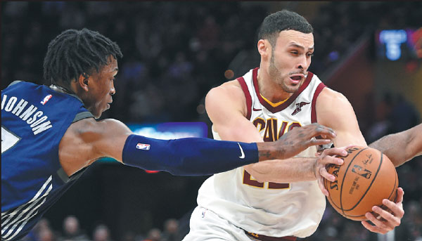 Cleveland Cavaliers Forward Larry Nance Jr Drives Past