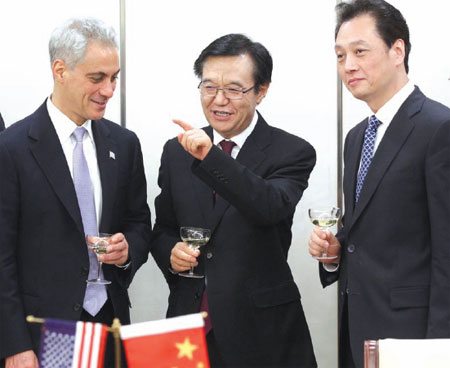 chinese commerce minister gao hucheng center and vice minister wang