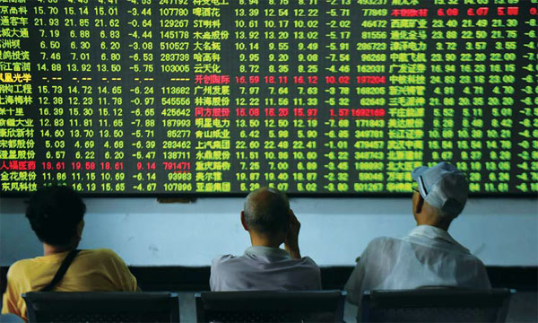 chinese stock investors watch the market in hangzhou ...