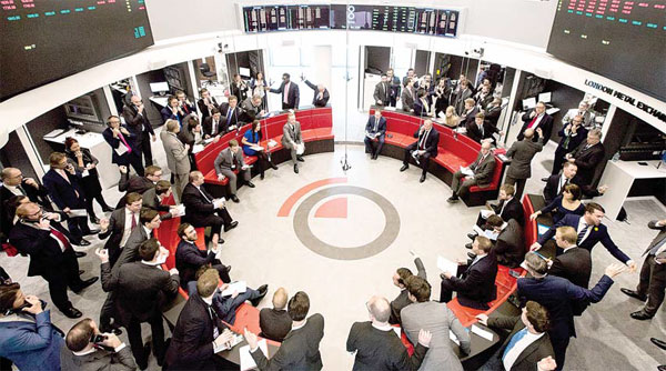 Traders at the Ring, the London Metal Exchange's open ...