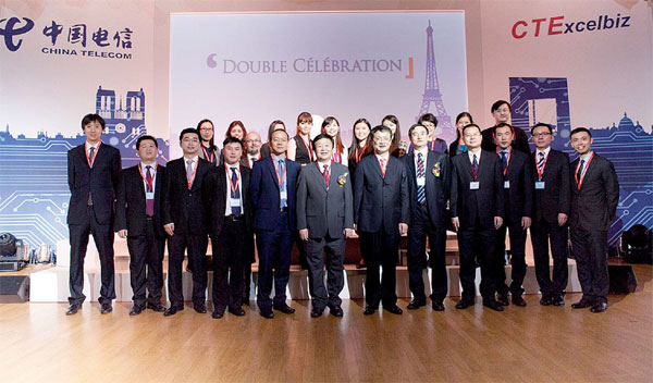 China Telecom s team at the opening of the company s Paris office in 2013. Provided to China Daily