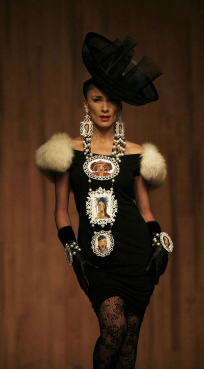 Models present creation during fashion week in Mexico