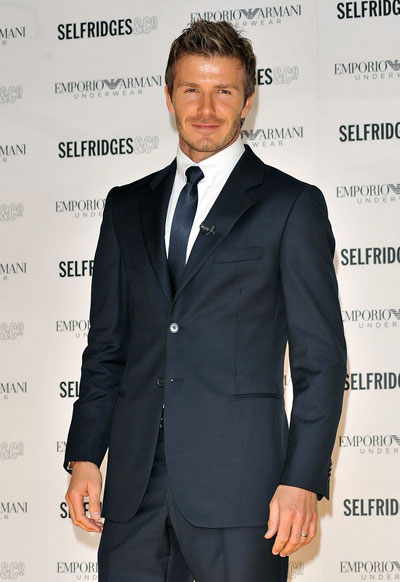 David Beckham promotes Emporio Armani men's underwear collection in London