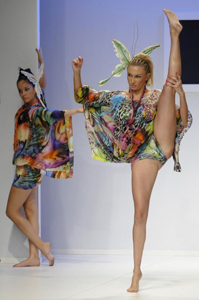 Models display outfits at fashion show in Burgos