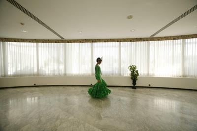 Miss Sevilla contestants wear traditional Sevillana dresses