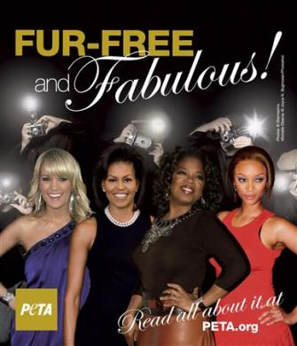 Fur flies over picture of Michelle Obama in ad