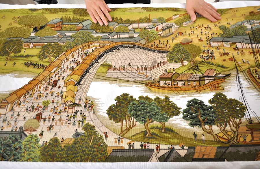 crossstitch work of 'riverside scene at the qingming