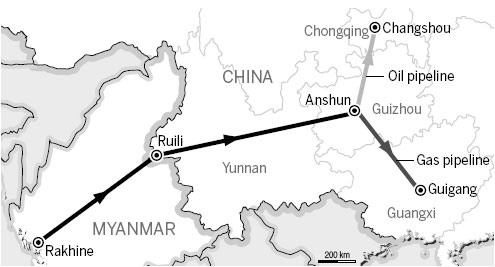 China-Myanmar oil and gas pipelines to lower energy costs