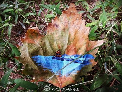 Paintings on fallen leaves showcase city beauty