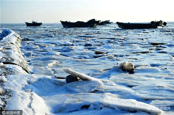 Thick sea ice at Jiaozhou Bay, Qingdao[3]