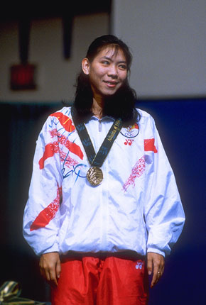 ... Susi SUSANTI from Indonesia, bronze medallist. Credit: Getty Images