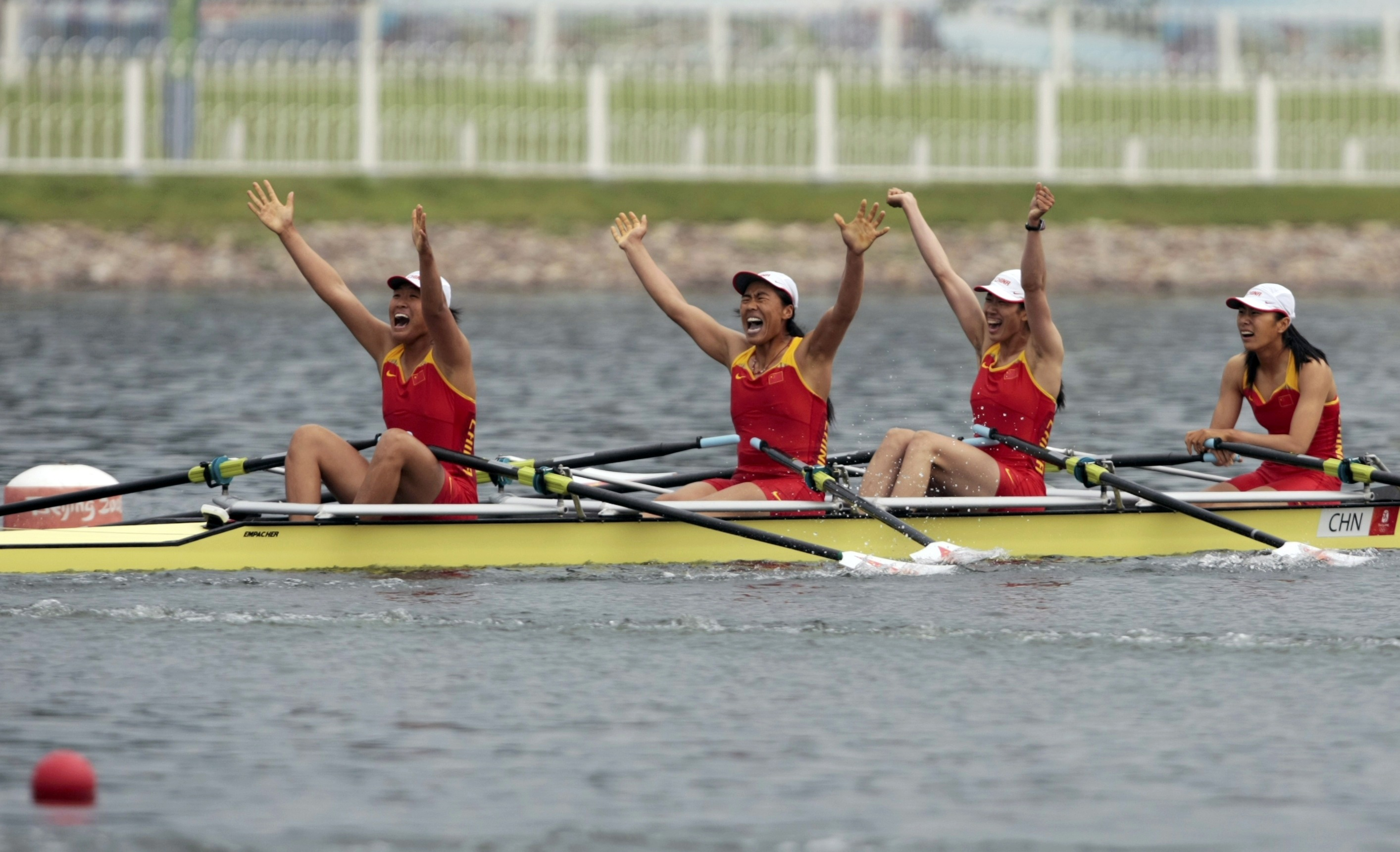 Zhang Yangyang Of China Compete In The Womens Quadruple Sculls Final Rowing Competition At Beijing 2008 Olympic Games Shunyi Canoeing