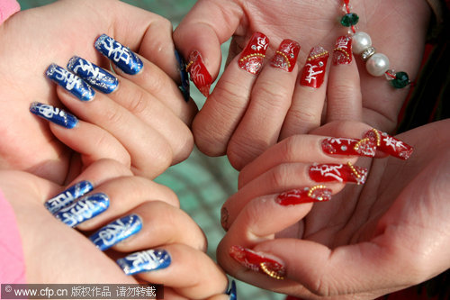 Nail design for tiger year