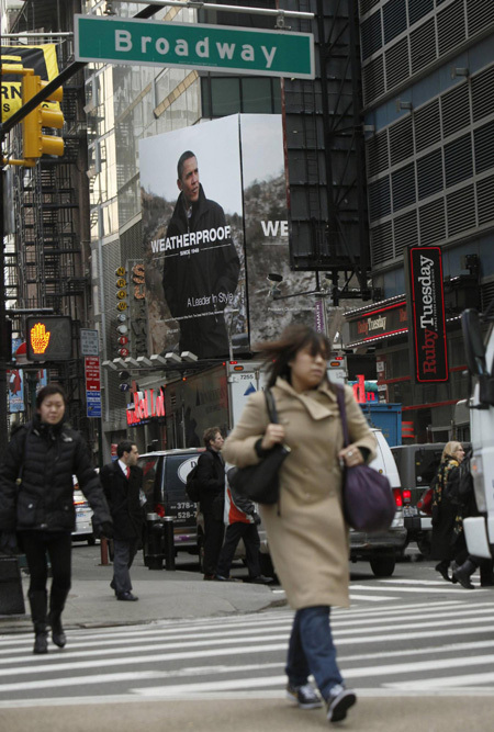 new york times square billboard. Times Square billboard depicts