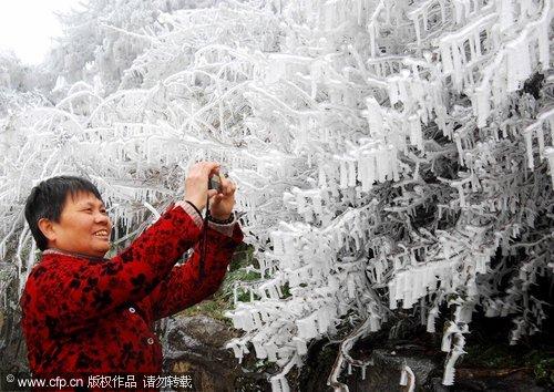 A frosty coating in Mount Lu