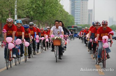 Bikes as wedding transportation for couple