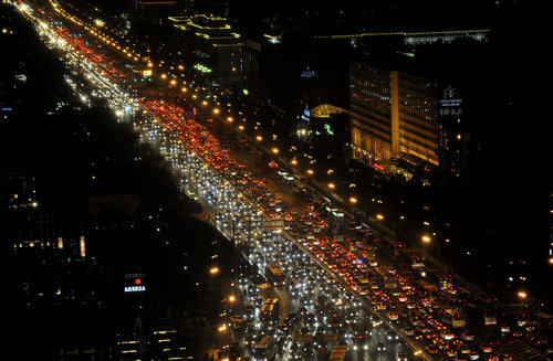 Beijing stuck in severe traffic jams