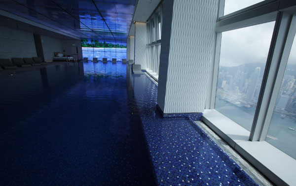 World 39 s highest hotel opens in hk for Tallest swimming pool in the world