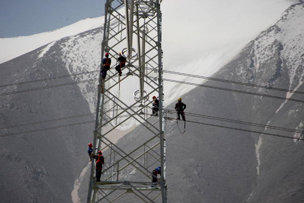 power line in Haixi prefecture, Northwest China's Qinghai province ...