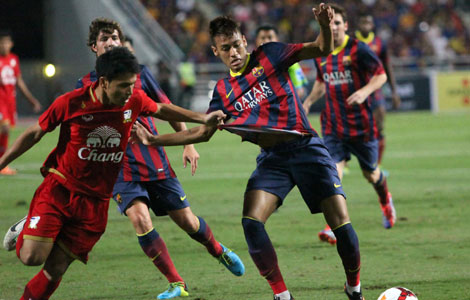 Neymar scores first goal for Barca in 7-1 rout Yi storms back to help