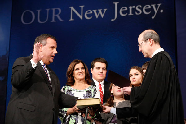 Amid scandal, Christie is sworn in for second te