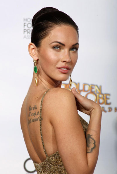 Megan Fox At Golden Globes 2009. Megan Fox poses backstage at