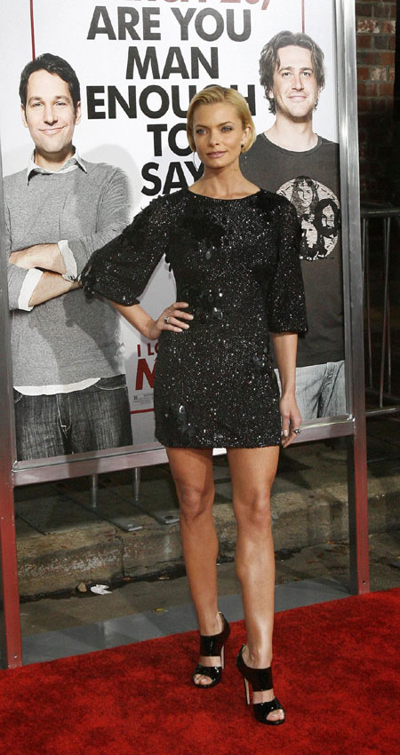 "Cast member Jaime Pressly poses at the premiere of the movie ""I Love You,"