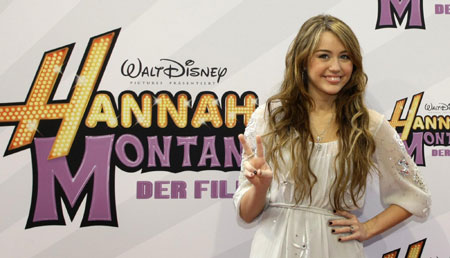 Miley Cyrus attends 'Hannah Montana:The Movie' premiere in Munich
