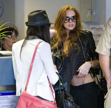 Lindsay Lohan and sister Ali at LAX airport