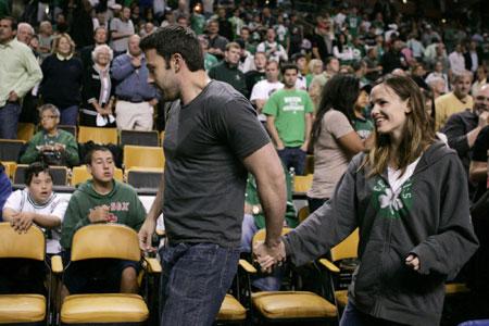 Jennifer Garner and Ben Affleck watch the Boston Celtics play the Orlando Magic of NBA