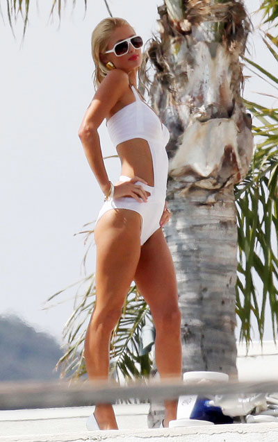 Paris Hilton swimsuit photo shoot in USA