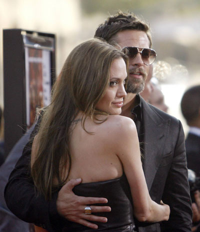 Brad Pitt and Angelina Jolie at premiere of