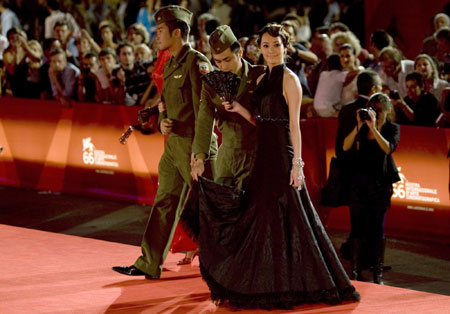 Chinese stars arrive on the red carpet during the 'Lei Wangzi' premiere at Venice