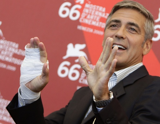 George Clooney attends the photocall at Venice