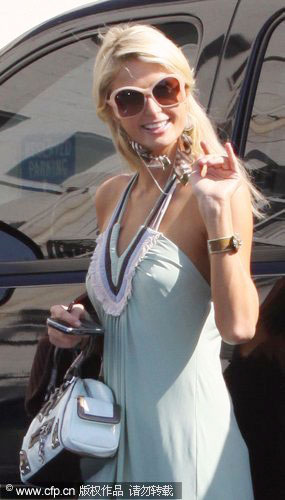Paris Hilton arriving at the Wilcox Recording Studio in Hollywood