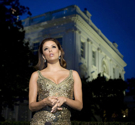 Eva Longoria and other celebs attend Hispanic music event at White House