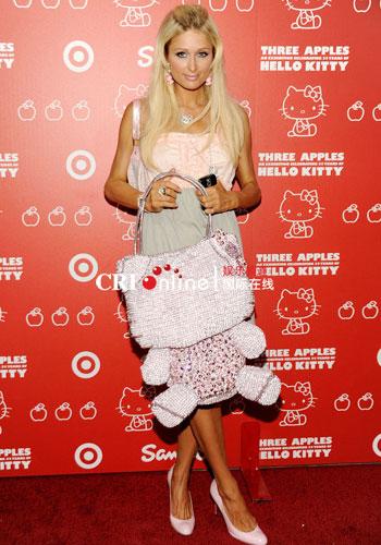 Paris Hilton arrives at Hello Kitty 35th anniversary celebration