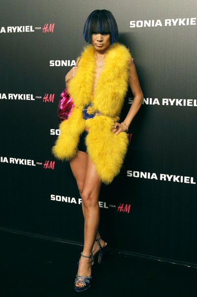 Bai Ling arrives at H&M's lingerie collection in Paris