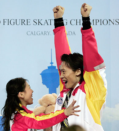 World Figure Skating Championships Updated 2006 03 23 0950 Chinas Pang Qing L And Tong Jian Perform In The Pairs Free