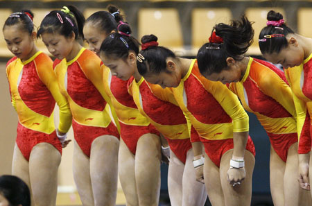 Members Of The Chinese National Gymnastics Team Bow To Judges During Training Before Start World Artistic Championships In Aarhus
