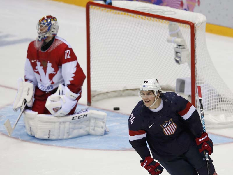 US beats Russia in clash of ice hockey titans